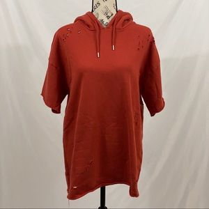 PacSun Rust Orange Distressed Hoodie Size Small